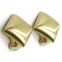 925 STERLING SILVER EARRINGS, 20mm YELLOW RHOMBUS, CLIPS CLOSURE, SATIN FINISH image 1