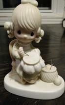 Precious Moments Mother Sew Dear Figurine 1979 Needlepoint E-3106 Tree Mark - $13.98