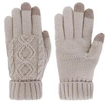 Women's Cable Knit 3 Finger Touchscreen Winter Mitten Gloves,Latte - $19.11