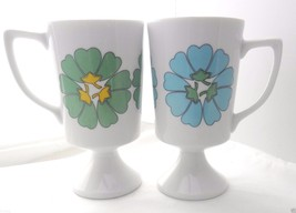 Retro Cups 2 Vintage Mug Coffee Pedestal Mid Century Modern Poppies Blue... - $22.88