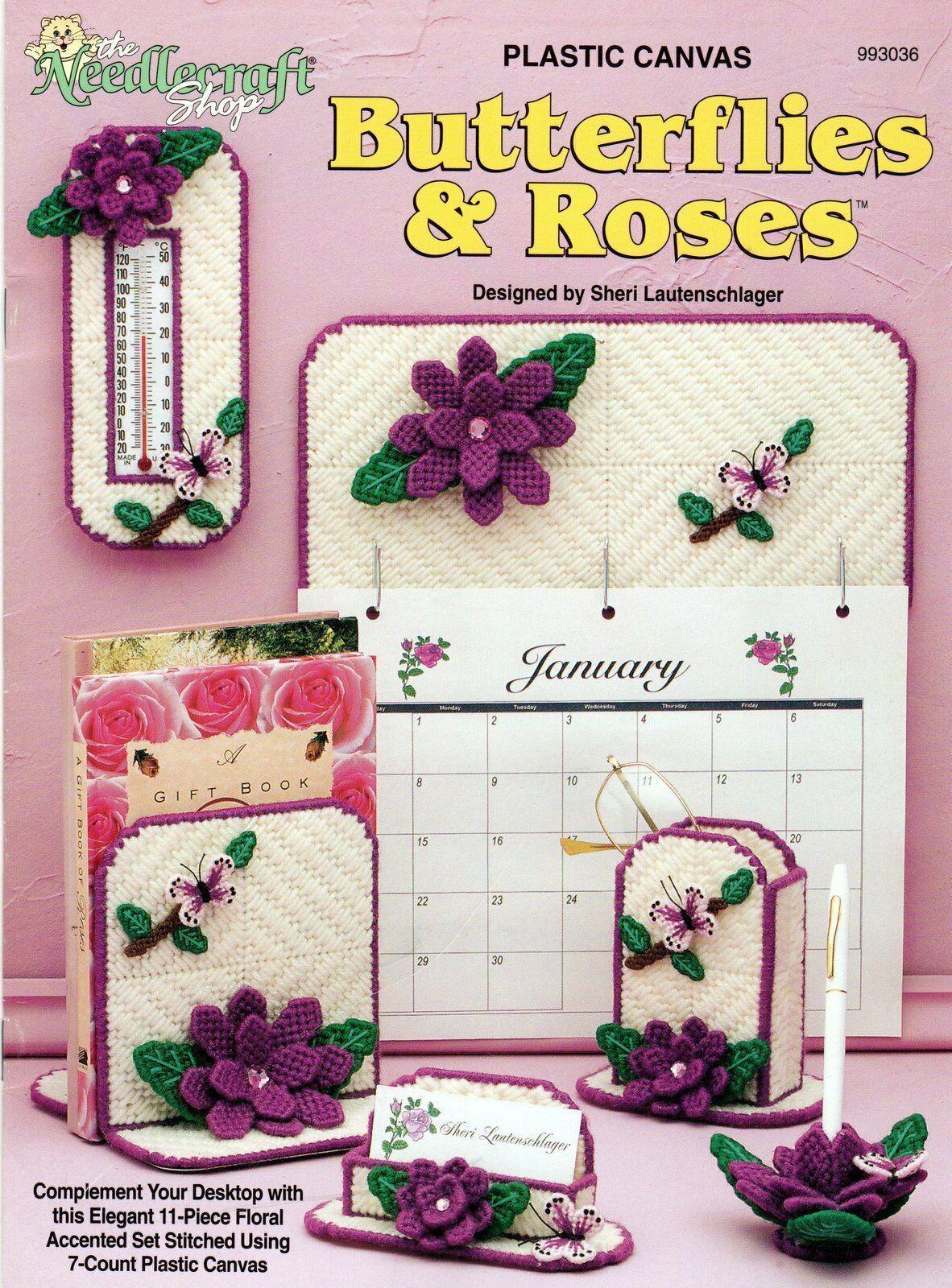 Plastic Canvas Butterflies & Roses Desktop Accessories Needlecraft Shop 993036 - $24.95