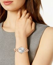 I.N.C. Women's Rose Gold Tone Cuban Chain Crystal Dial Bracelet Watch 30mm NEW image 4