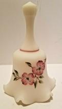 Vintage Fenton Ivory Satin Artist A Meeks Handpainted Pink Dogwood Flowers Bell - $19.40