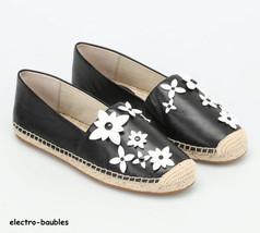 New $125 Michael Kors Lola Leather Black/Optic White Flowers Slip On Sho... - $59.39