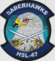 Official US Navy Helicopter Squadron HSL-47 Saberhawks Patch & Sticker  - $19.79