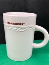 Starbucks 2010 Ceramic Coffee Mug Cup Embossed Design 10 oz White  - $9.32