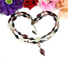 Caroll PURPLE GLASS BEAD NECKLACE Vintage Double 2 Strand Coppertone Beaded - $24.99