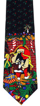 Santa Taz Men's Necktie Christmas Licensed Looney Tunes Cartoon Black Ne... - $29.65