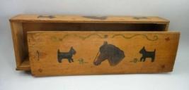 antique FOLK ART PAINTED WOOD CANDLE BOX SCOTTY DOG HORSE joint corner F... - $89.99