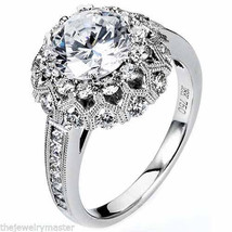 WOMENS DIAMOND ENGAGEMENT HALO RING ROUND CUT 2.19 CARAT 18K WHITE GOLD - £4,964.01 GBP