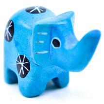 Tabaka Chigware Hand Carved Kisii Soapstone Mini Light Blue Elephant Figurine image 4