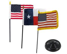 "USA Texas & USA Fringe 3 Flags 4""x6"" Desk Set Table Stick Black Base - $22.00"