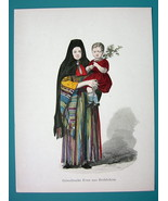 COSTUME Greek Lady from Bethlehem - 1880s Color Antique Print - $9.45