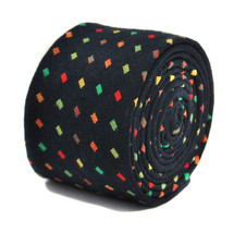 Frederick Thomas navy and multi coloured dotted 100% cotton tie FT2148
