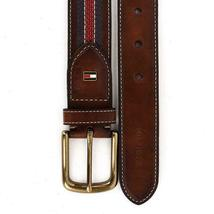 Tommy Hilfiger Men's 35MM Center Stripe Stitch Leather Belt Brown 11TL02X057 image 11