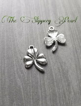10 Shamrock Charms Clover Pendants Antiqued Silver Good Luck Findings - $3.15