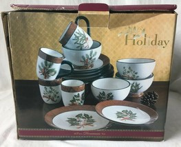 Home Accents Holiday Greens 15 Pc Set Christmas Dishes David Carter Brow... - $69.95