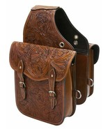 Western Trail Hand Tooled Brown Leather Horse or Motorcycle Saddle Bag Bags - $85.73