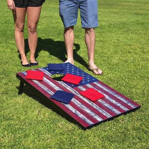 Cornhole Set - Includes 8 Bean Bags, Travel Case and Game Rules Good Weather Fun
