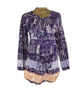 Custo Barcelona Line 2 Med Tunic Top Shirt Purple White Peach Drawstring... - $19.95