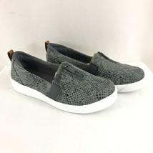 Ryka Womens Slip On Sneakers Faux Snakeskin Zipper Gray Size 9W Wide - $38.69
