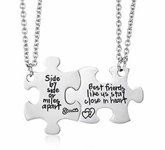 MJartoria 2 Pcs Best Friend Necklaces Side by Side Or Miles Apart Best F... - $12.23