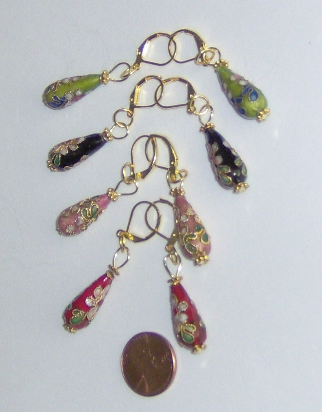 American Made! Teardrop Cloisonné  Earrings with Gold Spring Clips, Multi-colore