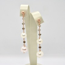 Drop Earrings in Silver 925 Laminate Rose Gold with Pearls and Smoky Quartz image 2