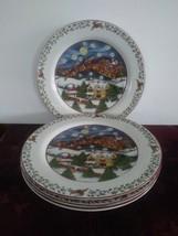 4 Susan Winget Over The Housetops Dinner Plates International China Chri... - $46.74