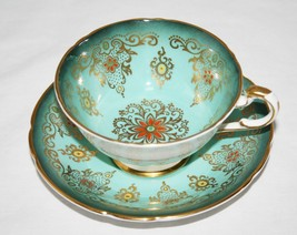 Amazing Paragon Turquoise Teal Tea Cup & Saucer Set Orange Yellow Beading - $135.00