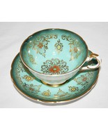 Amazing Paragon Turquoise Teal Tea Cup & Saucer Set Orange Yellow Beading - $135.00