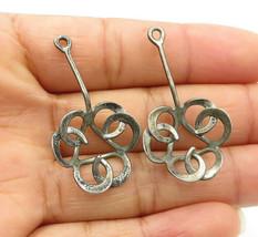 925 Sterling Silver - Vintage Dark Tone Swirl Designed Drop Earrings - E... - $24.87
