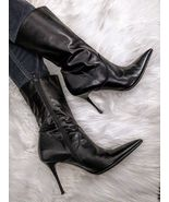 Italian Stiletto Black Leather Boots by Lea Foscati - $145.00