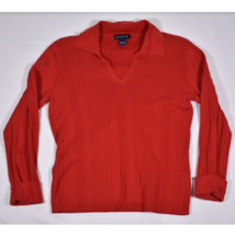 Womens Ann Taylor V Neck Collared Red Sweater Rolled Cuffs Size Medium - $14.69