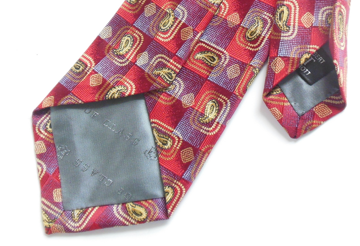 Robert Talbott 57 Inch Silk Tie for Men Geometric Medium Red Wine Best of Class