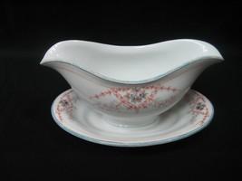 Vintage Gravy Sauce Boat Dish Bowl Burnt Brown & Blue Flora Design - $11.83
