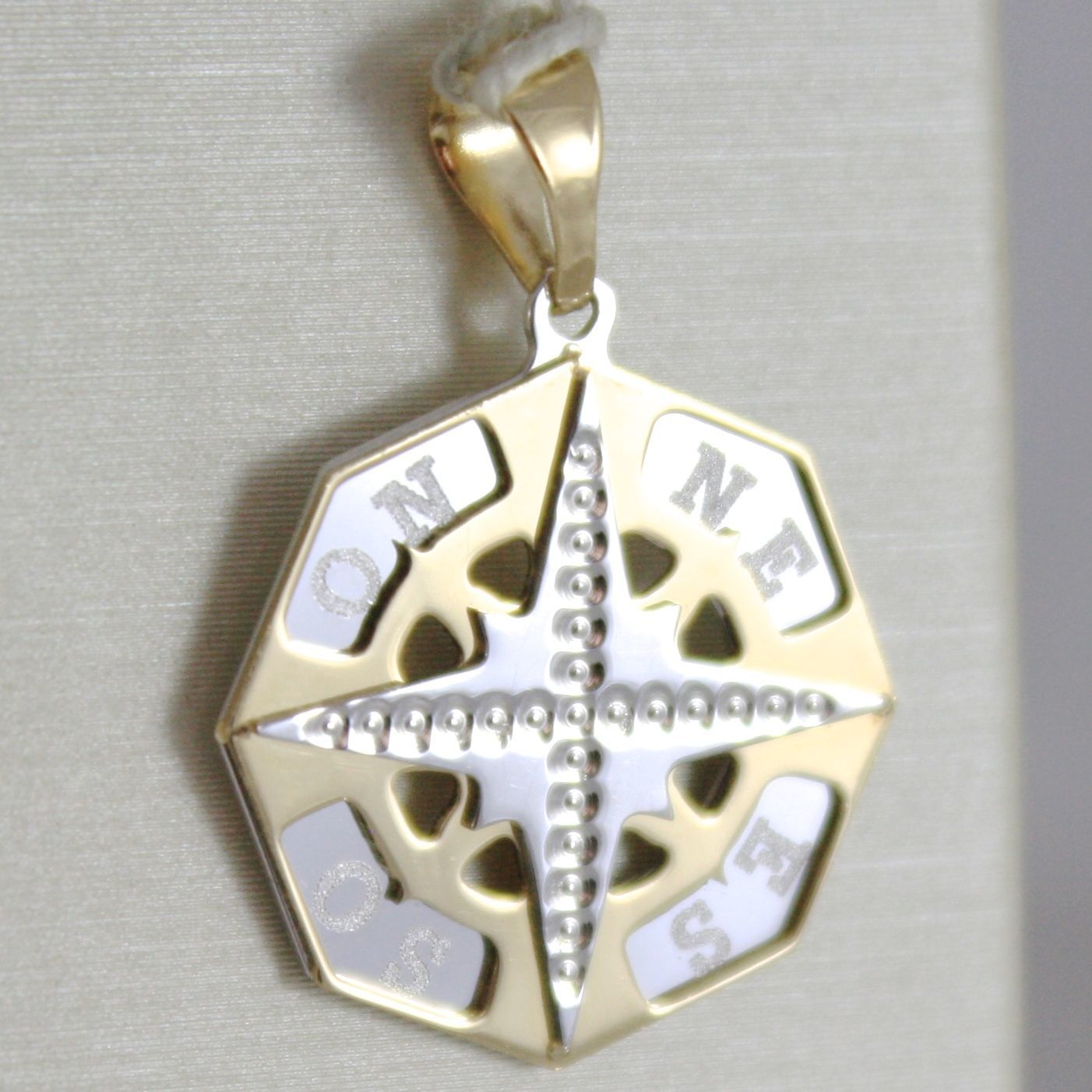 YELLOW GOLD PENDANT WHITE 750 18K, PINK WIND ROSE TWENTY, COMPASS, MADE IN ITALY