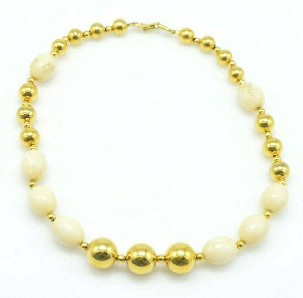 Primary image for NAPIER Cream Gold Bead Beaded Acrylic Necklace Vintage
