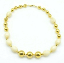 NAPIER Cream Gold Bead Beaded Acrylic Necklace Vintage - $29.69