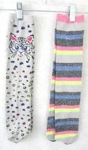 "Novelty socks 2 pair adult sparkle cat kitten stripes stretch 18"" long g... - $8.99"