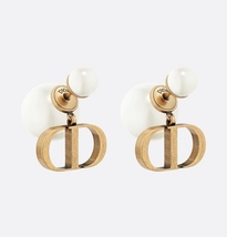 AUTH Christian Dior 2020 ANTIQUE GOLD CD LOGO DOUBLE PEARL EARRINGS