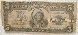 $5 DOLLAR BILL LARGE SIZE SILVER CERTIFICATE 1899 SERIES INDIAN CHIEF RARE - $244.99