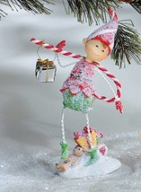 Christmas Sugar Elf Figurine with Candy Cane Decoration - White Metal Wi... - $13.75