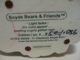 Figurine Boyds Bear & Friends Clarence Angel Bear With Star #2029-11 Retire 1993 image 9