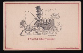I Was Out Riding Yesterday Vintage Artists Signed Postcard Fred Opper - $4.12