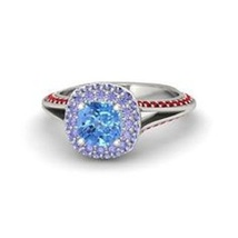 Ariel Princess Engagement Ring 925 Silver White Gold Fn. Round Cut MultiColor CZ - £59.07 GBP