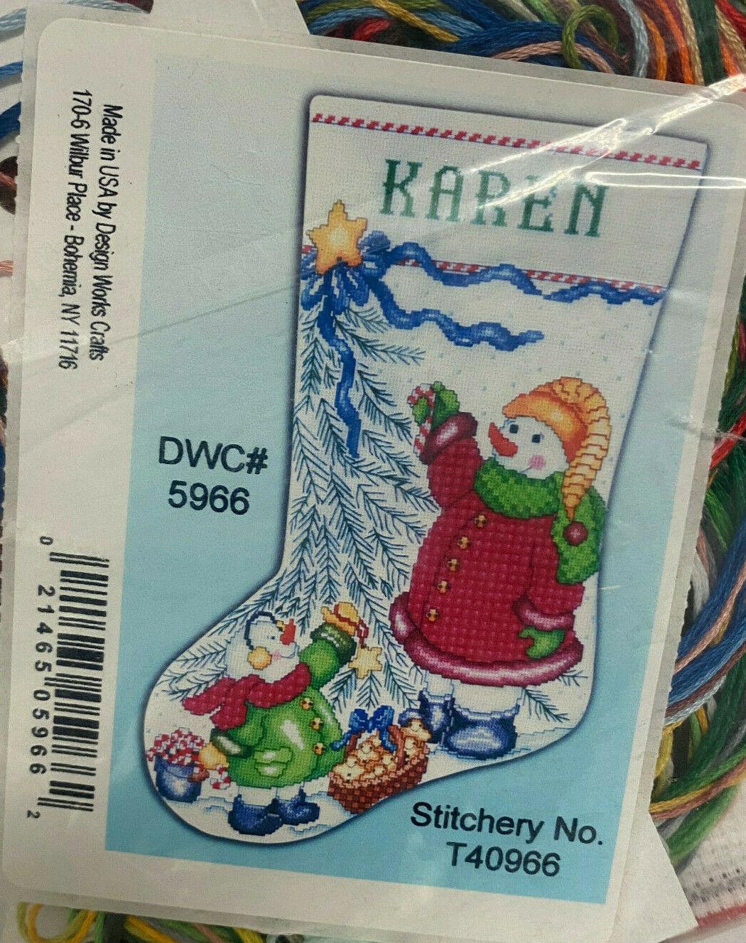 Design Works Counted Cross Stitch Kit Christmas Tree Snowman Name Stocking - $19.79