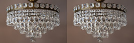 Matching Two Chandeliers Flush Low Ceiling Lighting Home Interior Antiqu... - $1,350.00
