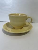 Fiesta Ware Sunflower Yellow Teacup And Saucer Set - $12.99