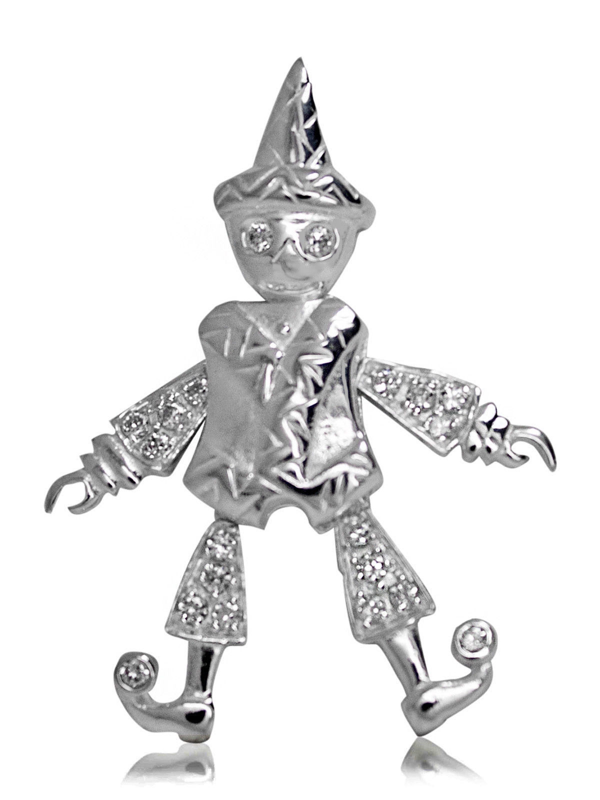 Primary image for 925 solid Sterling Silver with Cubic Zirconia Articulated Pulcinello pendant
